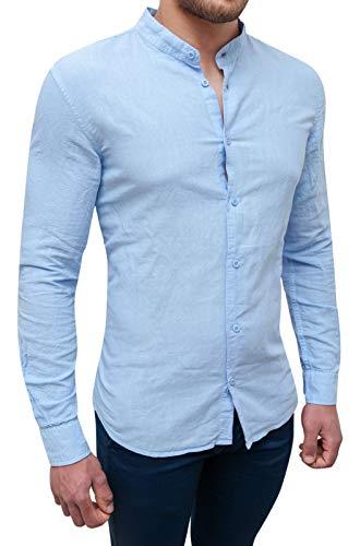 Evoga camicia uomo sartoriale celeste in lino slim fit casual elegante (s)