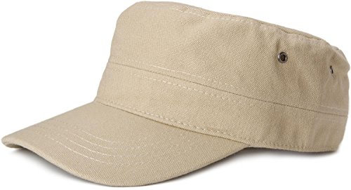 styleBREAKER Cap im Military-Stil aus robustem Baumwollcanvas, verstellbar, Unisex 04023020, Farbe:Beige -
