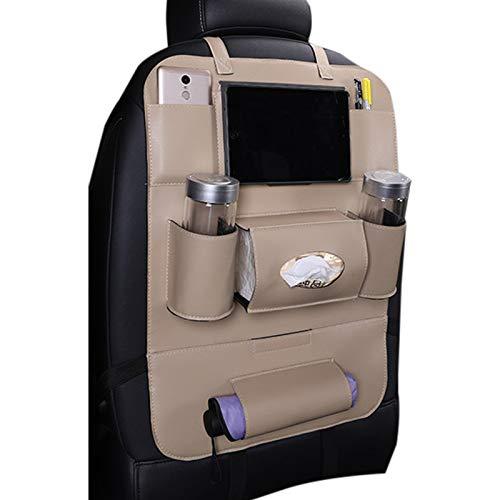 Elonglin Multifunktional Rücksitz-Organizer Multitasche iPad-Tablet-Halter Utensilientaschen Auto-Rückenlehnenschutz Autositz Organizer Kick-Matten-Schutz Universal für Auto Kunstleder Beige 58X41cm
