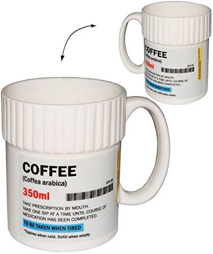 Unbekannt Kaffeebecher / Henkeltasse -  Kaffee Tabletten  - Tasse aus Porzellan / Keramik - 400 ml -...