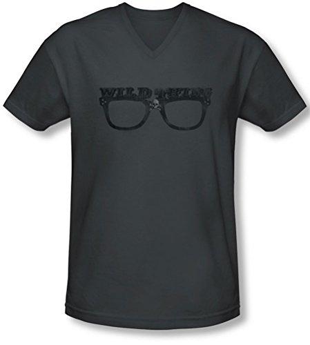 (Major League - Männer Wild Thing V-Neck T-Shirt, XX-Large, Charcoal)