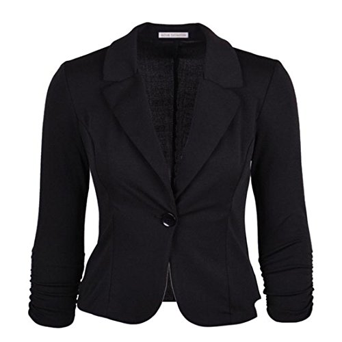 Vertvie Femme Veste Costume de Loisir Casual Single-Breasted Haut de Tailleur Slim Blazer Bouton Noir