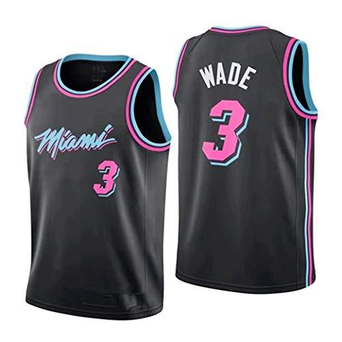 Aojing 3 Dwyane Wade, Miami Heat Unisex Sleeveless T-Shirt Basketball-Trikot NBA Swingman Jersey City Version (Color : Schwarz, Size : L)