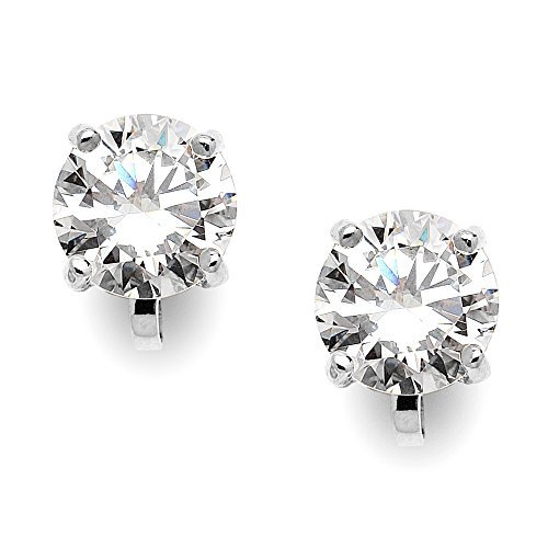 287366539320 Mariell Silver Platinum-Plated 2 Carat CZ Clip-On Earrings - 8mm Round-