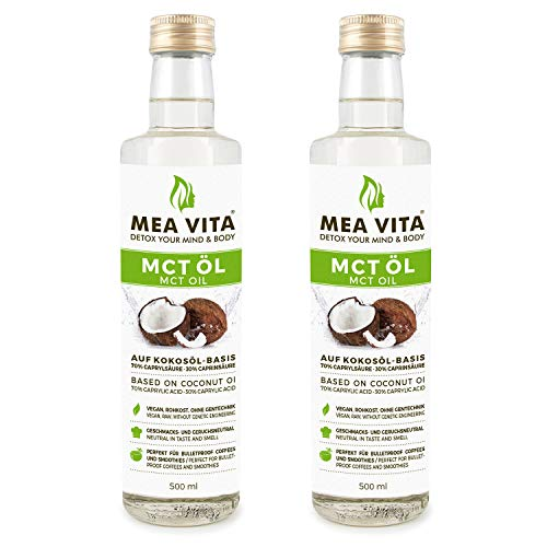 MeaVita MCT Öl, Premium Qualität (2 x 500 ml) - Magnesium-120 Tabletten
