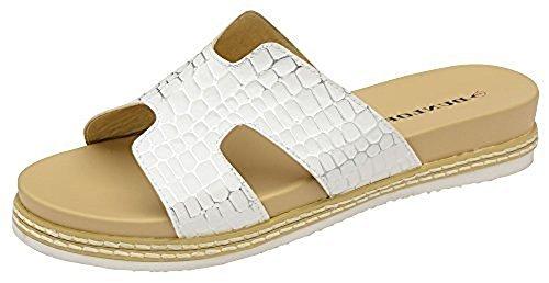 Dunlop Donna Memory Foam Casual Comfort Slip On Coccodrillo Scarpa Sandalo Bianco