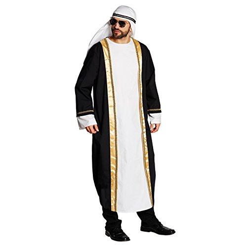 Sultan Turban Kostüm - Kostüm Araber Tunika schwarz-weiß Größe L, Turban Scheich Sultan Ölscheich Tuareg Beduine (Large)