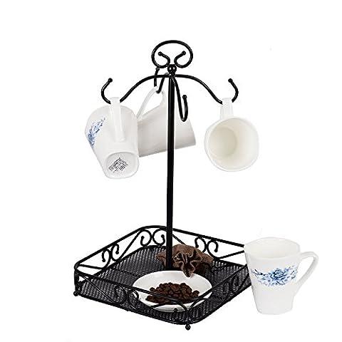 vanra Stahl Kaffee Becher Halter 4Haken Küche Ständer Organizer Drinkware Rack/Fruit Display Korb schwarz
