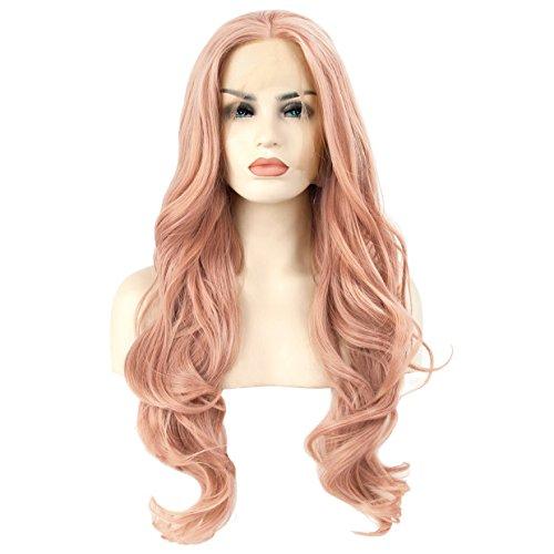 Damen Perücke Rosa Pfirsich Rot Pink Lockig Gewellt Gelockt Wellig Lace Front Wig Synthetisch Lang Kunsthaar Hitzebeständig Natürlich ca. 26 Zoll von ()