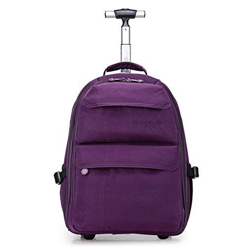 xy Trolley-Rucksack, Ein-Bar-Rucksack, Student Große Kapazität Multi-Funktions-Trolley-Reise-Boarding Trolley Bag (Farbe : Purple, größe : Small)