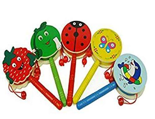 ug Rassel Cartoon Holz Hand Glocke Trommel Kinder Musikinstrument Spielzeug Zufällige Farbe ()