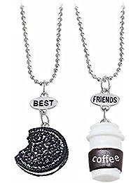 """Elegant Rose Conjuntos de 3 unidades Aleación Collares """"best friends forever and ever"""" Cookie Coffee Creativo Friendship Regalo para Amigos Niñas"""