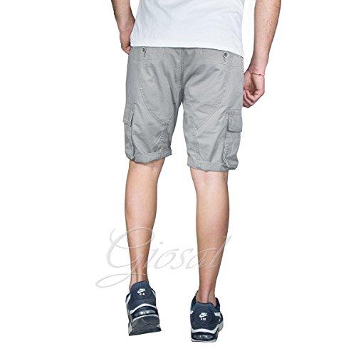 Pantalone Uomo Corto Akirò Tinta Unita Tasca America Tasconi Vari Colori Cavallo Basso GIOSAL Grigio
