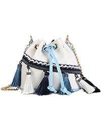 Bolso de Hombro Mujer, CONISY Elegantes Retro Etnico Pequeño Bolso Messenger de Lona Ocio - Blanco