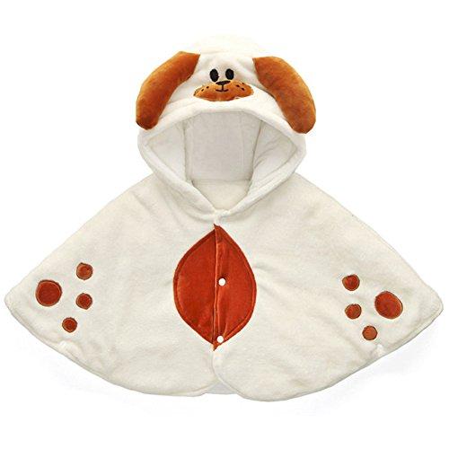einkind-Karikatur-Tier HundeHoodie Tücher Umhang Mantel Warm Outwear 0-2 jahre weiß (Trachten Färben)