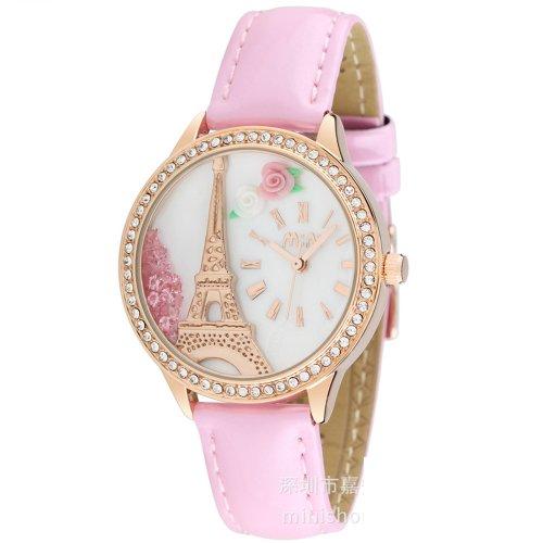 ufengke® montre à bracelet populaire sables mouvants strass mini pour-Rose bracelet en cadran tour d'or de fleurs