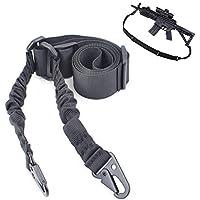 LRKZ Tactical Double Points Rifle Sling Cuerda de Pistola Ajustable Correa de Hombro Tradicional con Hebilla de Metal para Exteriores Paintball Airsoft,Negro