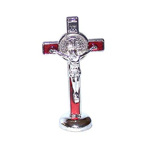 holylandmarket Herren St. Benedikt Kleines Kruzifix mit Aufkleber für Auto 7,6cm rot