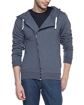Campus Sutra Denim Men's Cross Zip Long Hooded Wrap Jacket(AW15_ZHCRZ_M_PLN_DN_M_Blue_Medium)