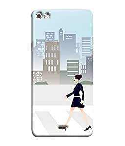 PrintVisa Designer Back Case Cover for Micromax Canvas Sliver 5 Q450 :: Silver Q450 (working lady going office home date)
