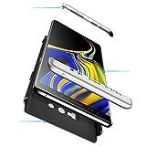 BIZHIKE Coque pour Samsung Galaxy Note 9 Étui Housse Etui en PC Matière + Verre trempé écran Protecteur 360 degrés Full-Cover Case Dur Rigide Coque Casque de Protection Matte 3 en 1 - Argent Noir