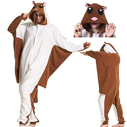 Stich Kostüm Pajama - Unisex Adult Flying Squirrel Pajamas- Plush One Piece Costume