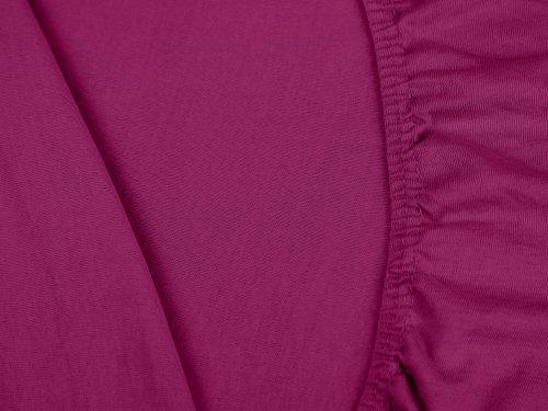 npluseins klassisches Jersey Spannbetttuch - erhältlich in 34 modernen Farben und 6 verschiedenen Größen - 100% Baumwolle, 90-100 x 200 cm, pink - 5