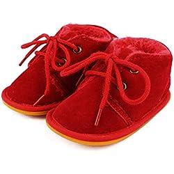 Lacofia Botas de invierno de suela de goma para bebés niños o niñas Zapatillas de deporte con cordones para bebé rojo 6-12 meses