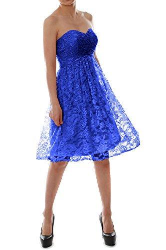 MACloth Strapless Short Lace Bridesmaid Dress Evening Cocktail Party Gown Royal Blue
