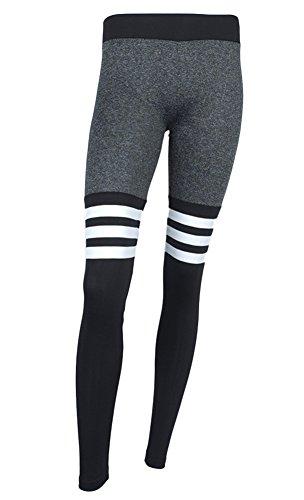 DELEY Damen Mädchen Jeden Tag Dehnbar Flexible Leggings Nahtlose Kontrast Farbe Streifen Print Strumpfhose Bleistifthose Fitness Yoga Hosen Schwarz Größe S