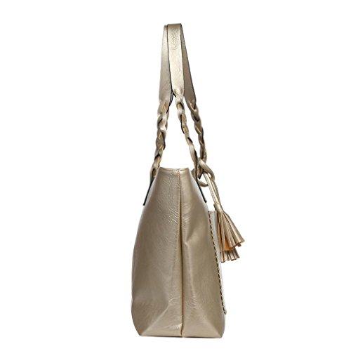 37cb5866ebadc ... Henkeltaschen damen Kolylong® Vintage Quasten Handtasche für Frauen  Mädchen Elegant Umhängetasche PU-Leder Groß ...