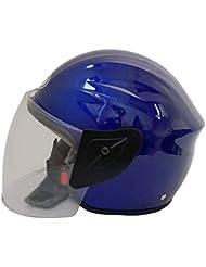 GHF Motocicletta Casco Locomotiva Equitazione Mezzo Casco Uomini e Donne Inverno Testa Protezione,Blue
