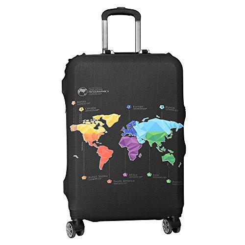 ASIV Cubierta de protector equipaje con cremallera, Funda maleta suave elástico de anti-polvo (Mapa de viajes)