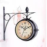 UNHO Horloge de Gare Rétro Double Face Pendule Murale Vintage d'Extérieur Alimentation Par Piles Décoration Idéal pour Maison, Jardin, Terrasse