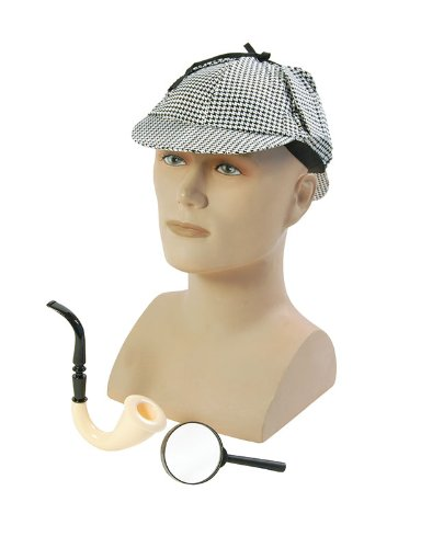 Detective Disguise Kit Hat Pipe Glasses Sherlock Holmes Spy Fancy Dress by Home & Leisure Online
