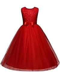fe8472c107e Oyedens Enfant Filles Robe de Princesse Fille Mariage Demoiselle d Honneur  Baptême Anniversaire Chic Robe de Mariee Fille Robe Bustier…