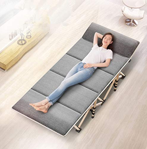 MUZI Klappbett für Einzelbett, zusammenklappbar, für Büro, Nickerchen, für den Außenbereich, Tragbare Verstärkung -