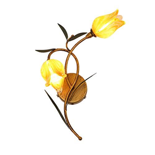 Wandleuchte Modern Klassisch Florentiner Stil LED Wandlampe Innen Floral Shabby Chic Dekorative Beleuchtung Lampen für Flur Schlafzimmer Wohnzimmer Esszimmer 2 Flammig,Yellow - 634 Lampen