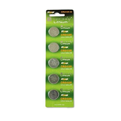 Techly Lithium Button Batteries (Set 5pcs) CR2025ibt-kcr2025-Non-Rechargeable Batteries (Alkaline, Button/Coin, CR2025, Silver, Blister) - Cr2025 Button