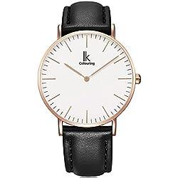 Alienwork IK Quarz Armbanduhr elegant Quarzuhr Uhr modisch Zeitloses Design klassisch rose gold schwarz Leder 98469L-04