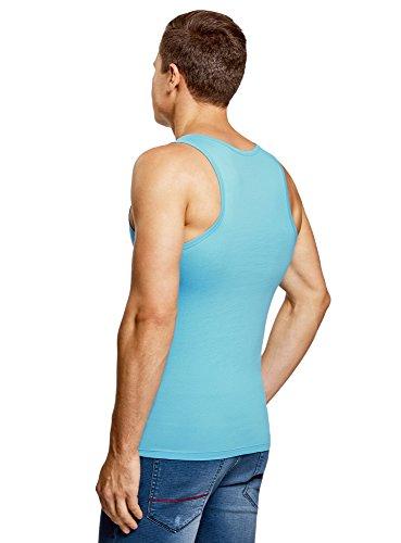 oodji Ultra Herren Trägershirt mit Sommerdruck Blau (7510P)