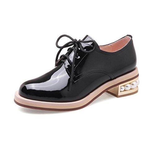 Zapatos de mujer Charol Pearl Heel Suela Oxford Cordones Tamaño 36 a 41 , black , EU36