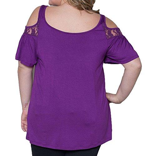 Hibote Femme Plus Size Blouses Sling Chemises Femme T-shirts Solide Couleur Pull Chemise Dame Chemises Minceur Élégant Tops Casual Blouse Violet