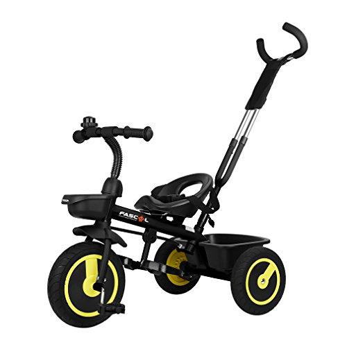 Fascol Kinder Dreirad ab 18 Monate bis 5 Jahre mit Schubstange Doppelte Funktion Trike Baby Kinderwagen Flüsterleise Gummireifen Belastbarkeit bis 30 kg (Schwarz)