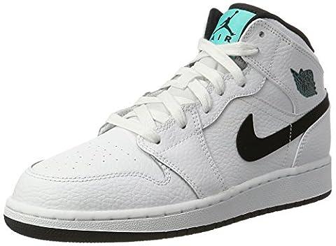 Nike Unisex-Kinder Air Jordan 1 Mid Bg Basketballschuhe, Elfenbein (White/Black/White/Hyper Jade), 40 (Nike Jordan 1 Mid)