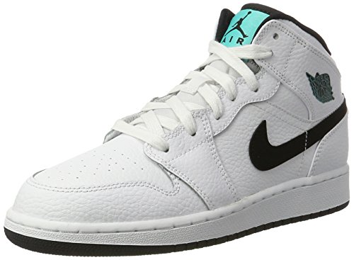 Nike Air Jordan 1 Mid Bg, Zapatos de Baloncesto Infantil, Blanco ...