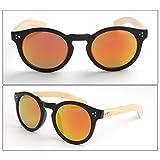 Gankmachine UV400 Runde Bamboo Sonnenbrille Frauen Männer Mädchen Brillen AC Resin-Objektive UV400 Brillen