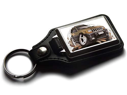 Koolart Schlüsselanhänger Grand Cherokee SUV, Leder, Chrom, braun -