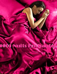 Parure de Lit Satin Rose Fushia 6 pcs Housse de Couette 220x260 Drap lit 180 cm