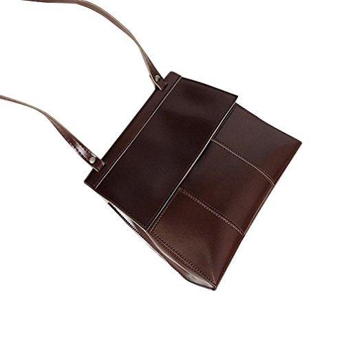 Longra Borsa a tracolla in pelle a tracolla con tacco a tracolla Messenger Borsa a tracolla in pelle PU moda donna Coffee
